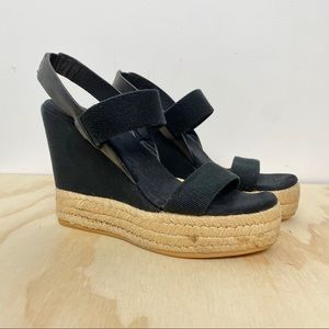 Tory Burch black two band espadrille wedge 7.5